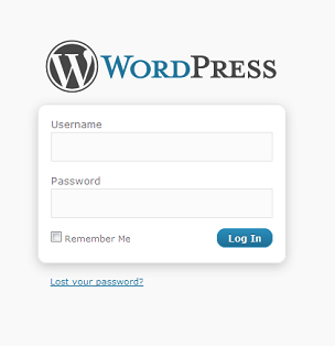WordPress default login screen