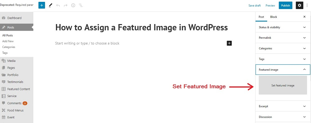 Assign a Featured Image in WordPress