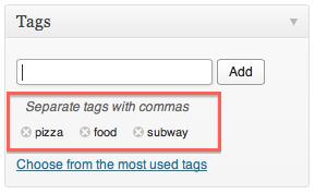 WordPress Tag Meta Box With Tags Written
