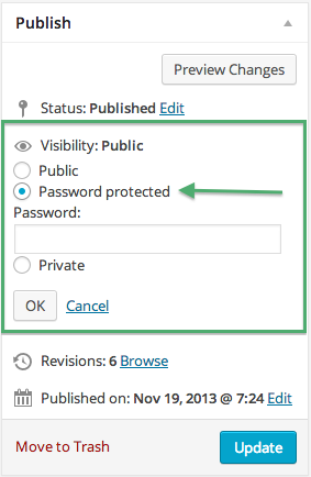 Choose Password Protected in Visibility in Publish Screen Option on WordPress