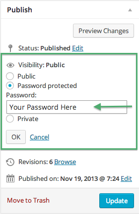 Choose Password for Password Protection in Visibility Screen on Publish Screen Opotion in WordPress