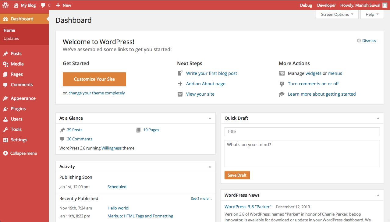 Dashboard Sunrise  WordPress 3.8