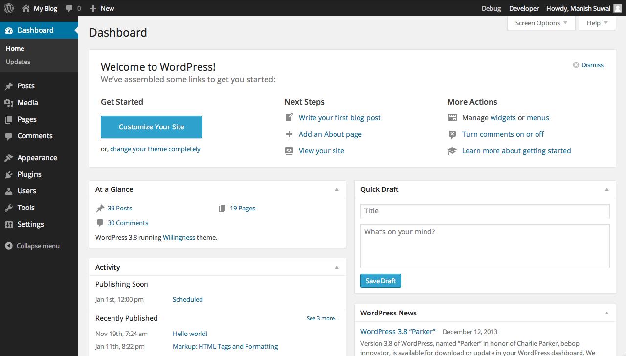 Dashboard WordPress 3.8