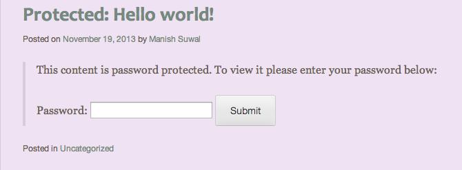Password Protected Blog Post on WordPress