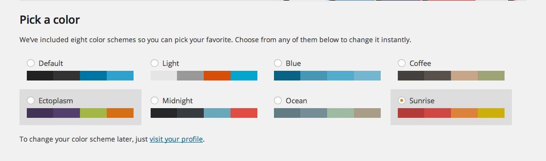 Pick a Color Scheme Sunrise WordPress 3.8