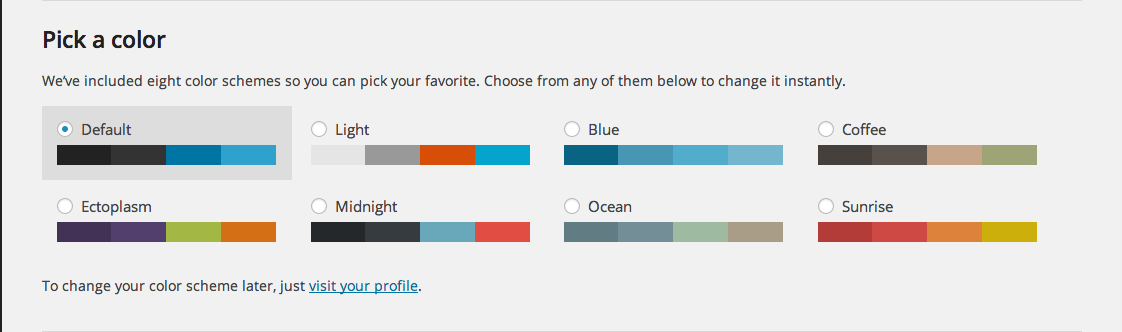 Pick a Color WordPress 3.8