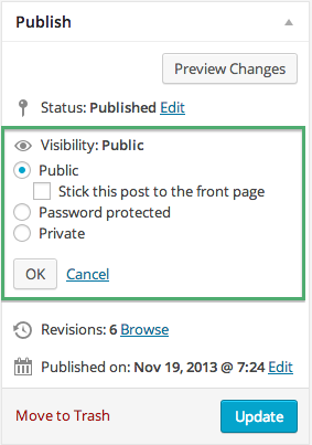 Visibility Option on WordPress Publish Screen