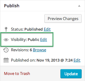 Visibility in Publish Screen Option on WordPress