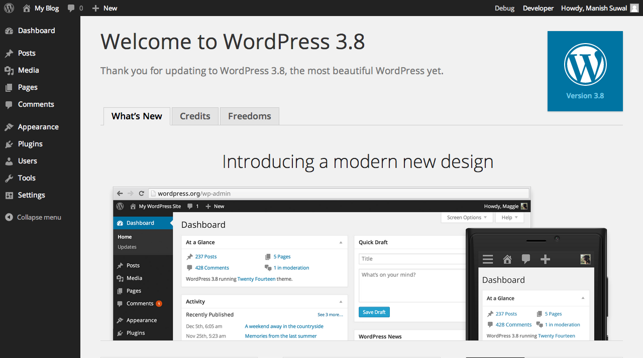 Welcome to WordPress 3.8