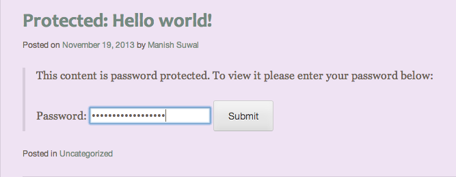 Writing Password on Password Protected Blog Post in WordPress
