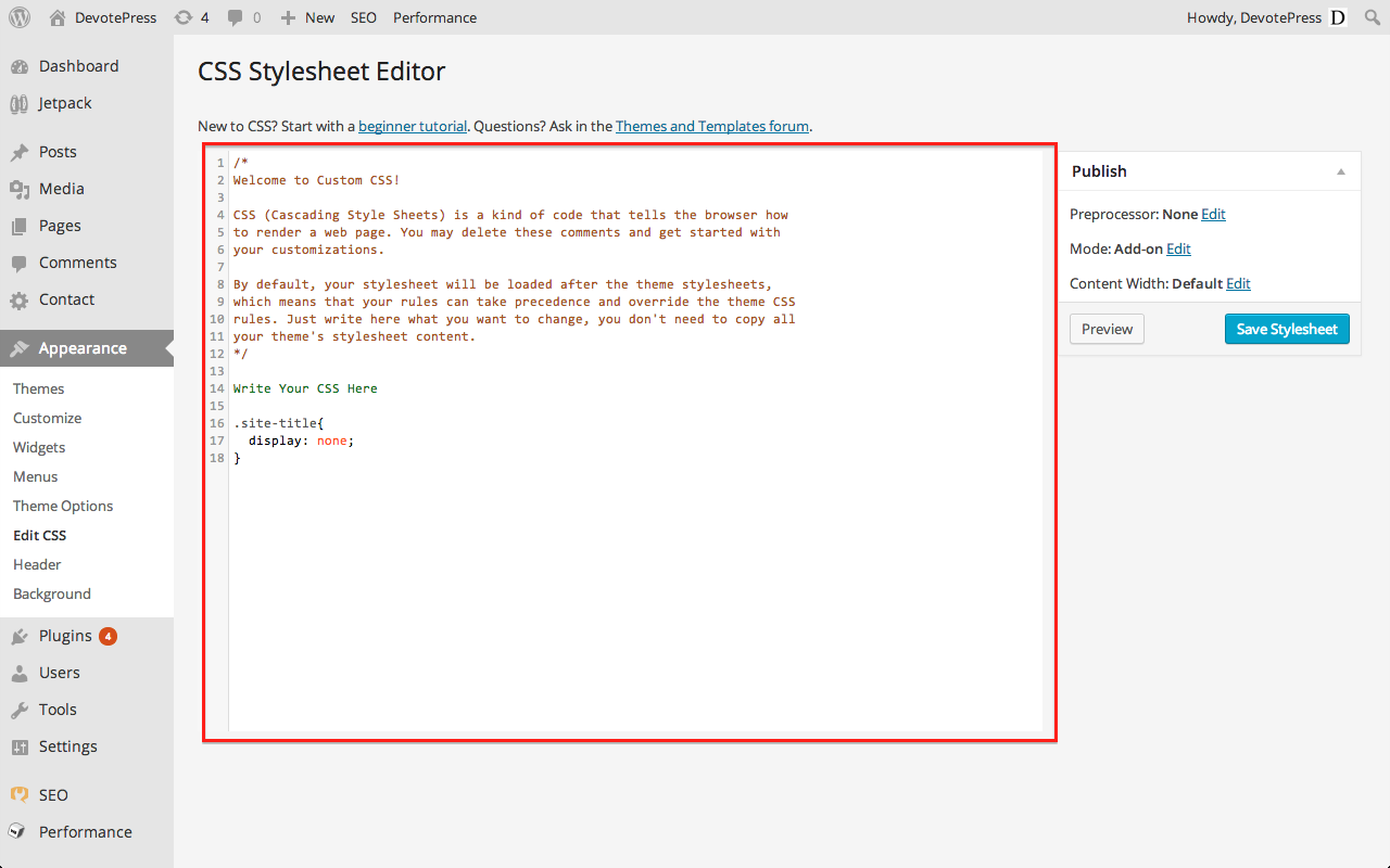 Jetpack CSS Stylesheet Editor