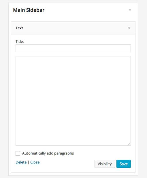 Main Sidebar Text Widget