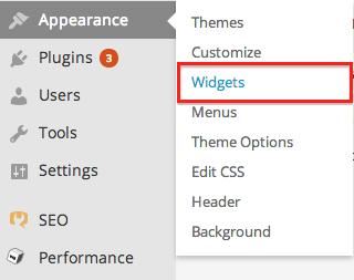 WordPress Appearance --> Widgets