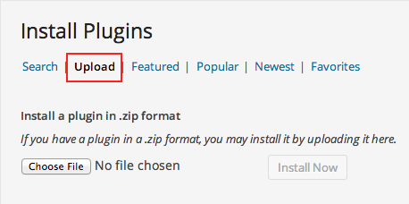 Upload Tab in the Install Plugins Screen