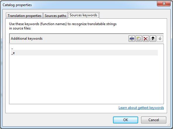 Source keywords - Catalog Properties