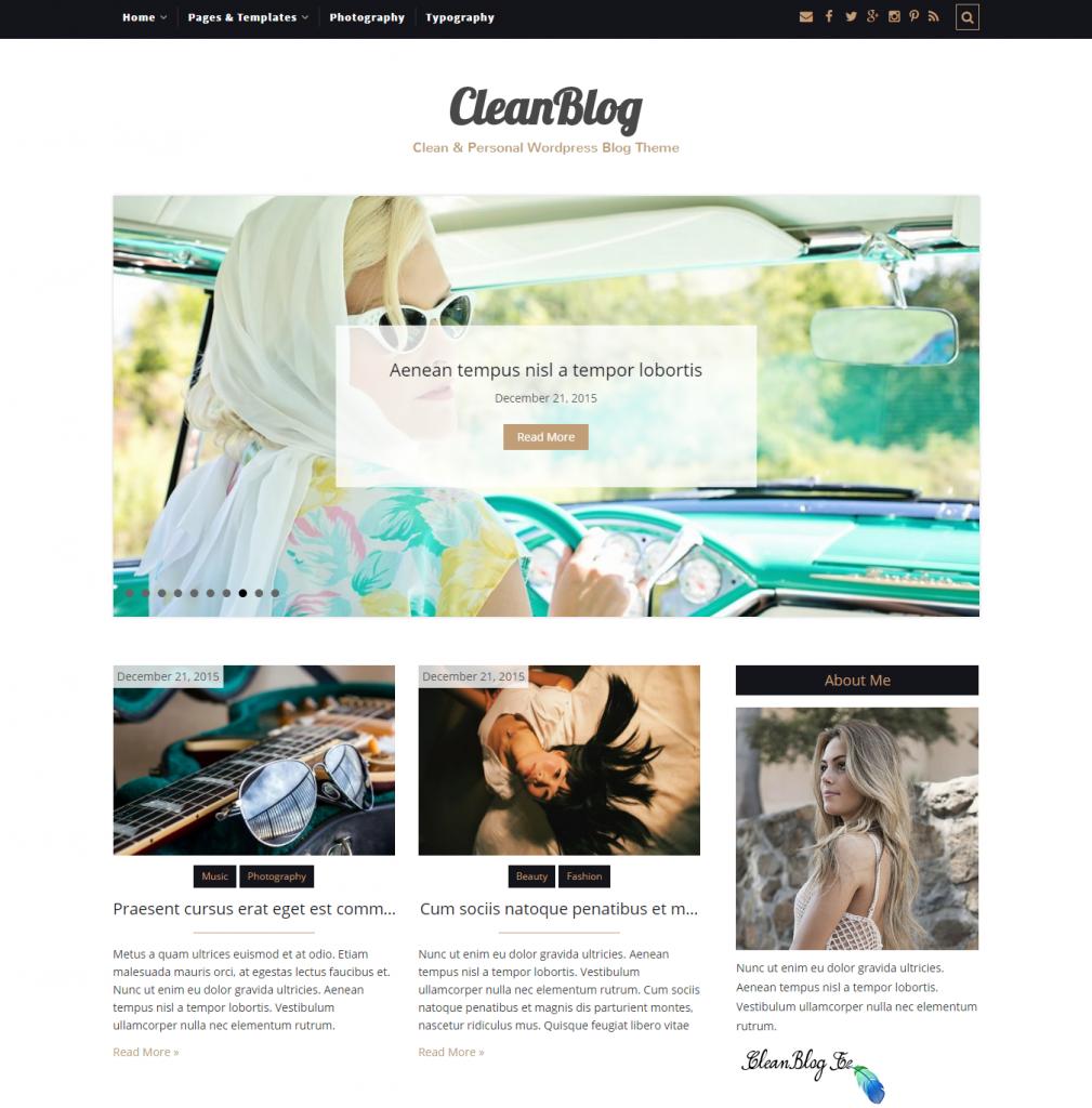 CleanBlog – Clean Personal WordPress Blog Theme - DevotePress