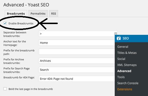enable yoast breadcrumb