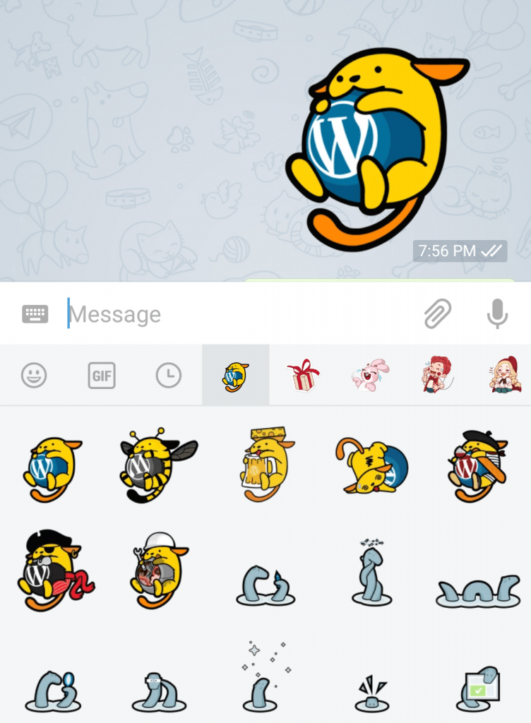 Stickers for Telegram. Image Credit: WP Tavern