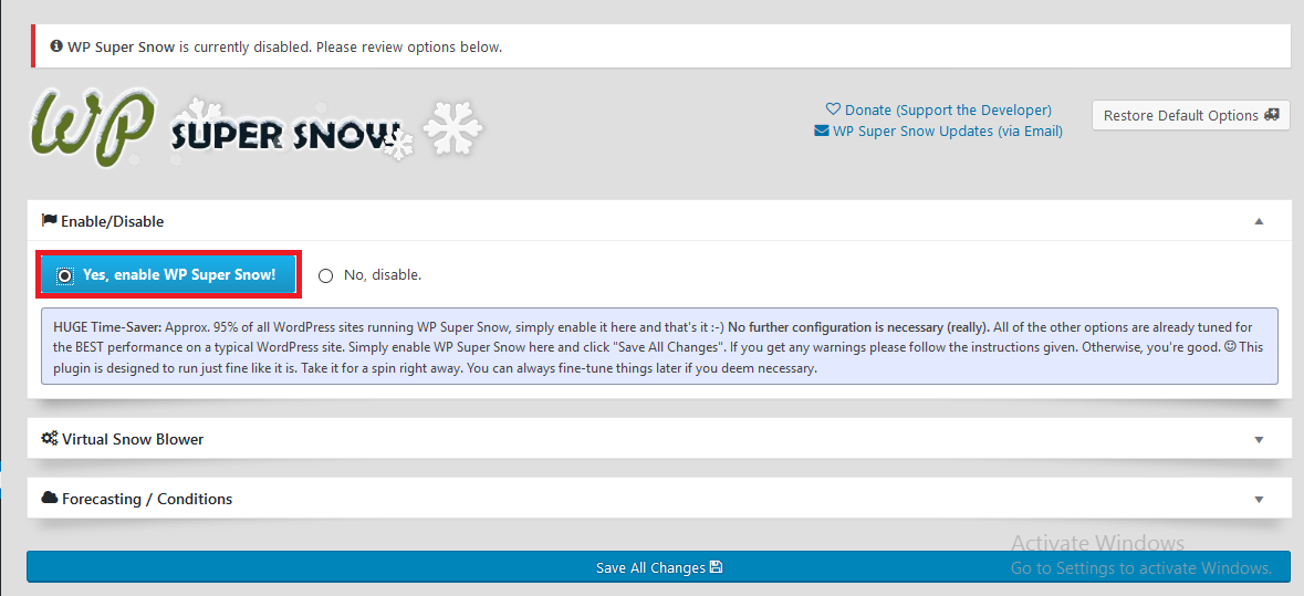 Super Snow settings page