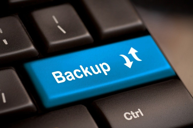 Backup Computer Key In Blue For Archiving And Storage