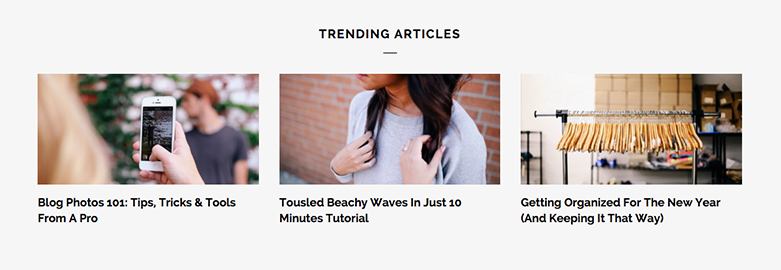 Screenshot of trending articles