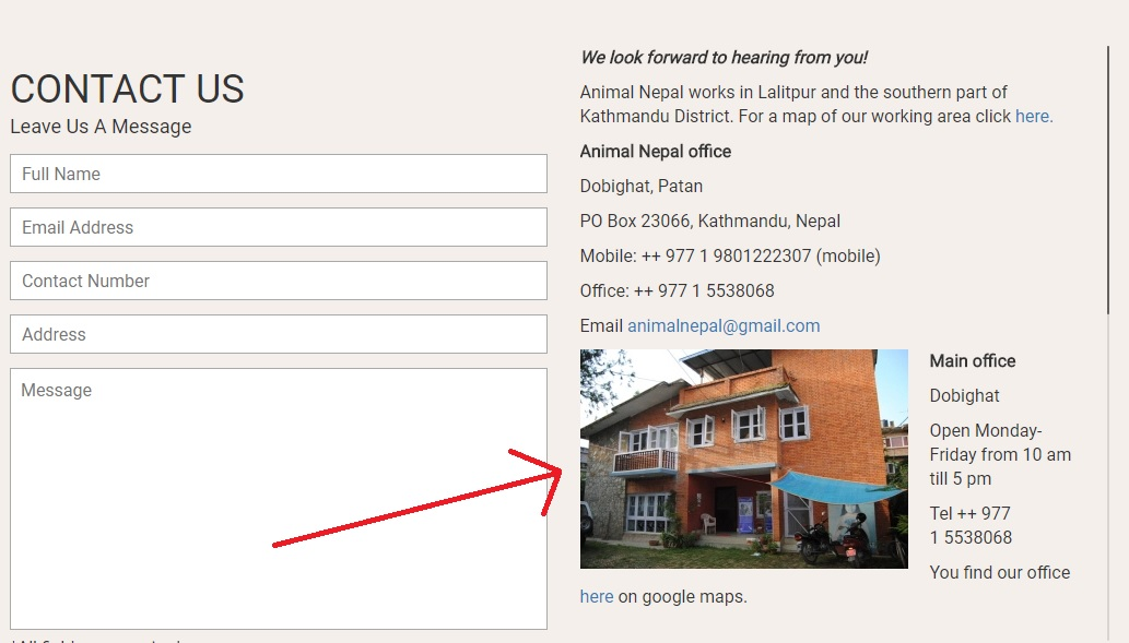 Add Images of your physical address. Credit: Animal Nepal