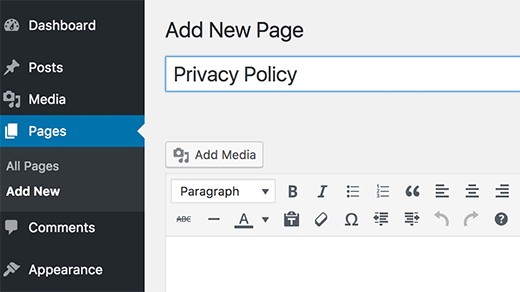 add privacy page.