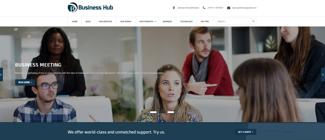 Business Hub WordPress Theme