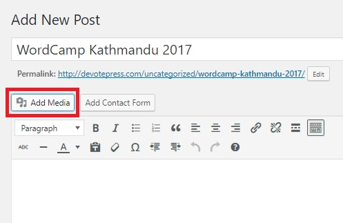 Add media button in WordPress Dashboard
