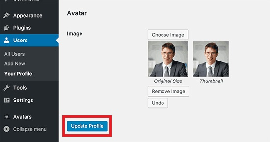 Update Profile page after uploading the author image. Image Source: WP Beginner