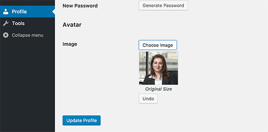 Other users' edit profile page. Image Source: WP Beginner