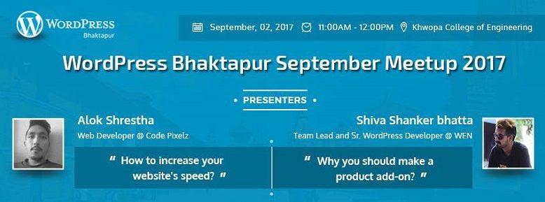 WordPress Bhaktapur September Meetup 2017 banner. Image Source: Facebook Event Page