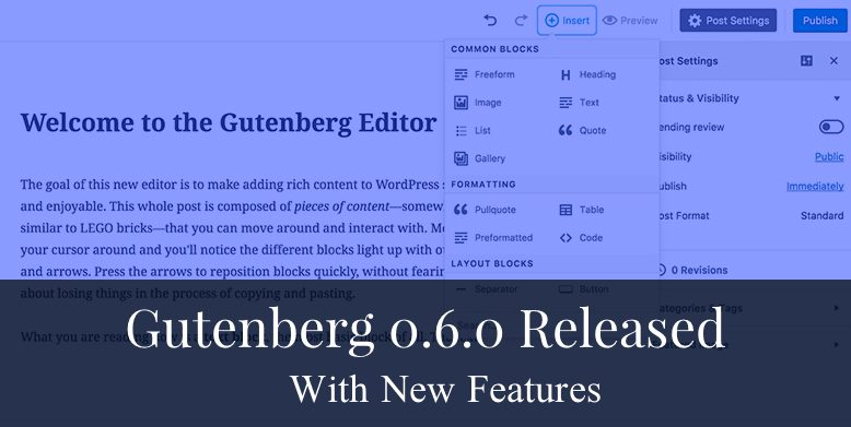 Gutenberg 0.6.0 released with new features