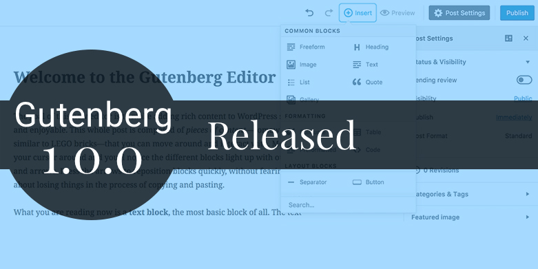 Gutenberg 1.0.0 Released with New Features and Improvements