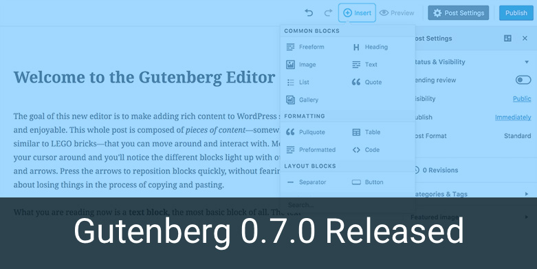 Gutenberg 0.7.0 Added Opt-In Usage Tracking and More
