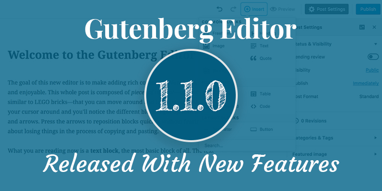Gutenberg 1.1.0 Released with New Features and Improvements