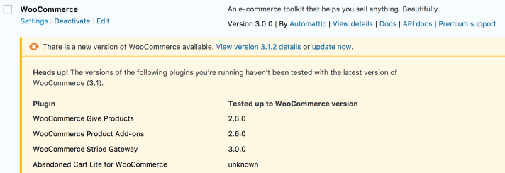 Extension Support Version Checks before Core Updates. Image Source: WooCommerce