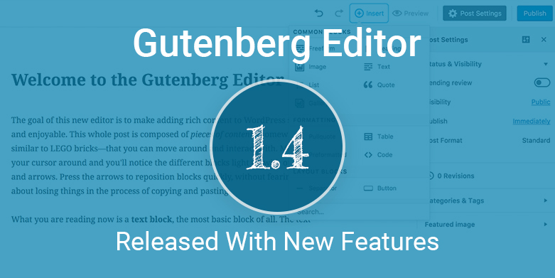 Gutenberg 1.4: The Newest Version of Gutenberg Editor Released