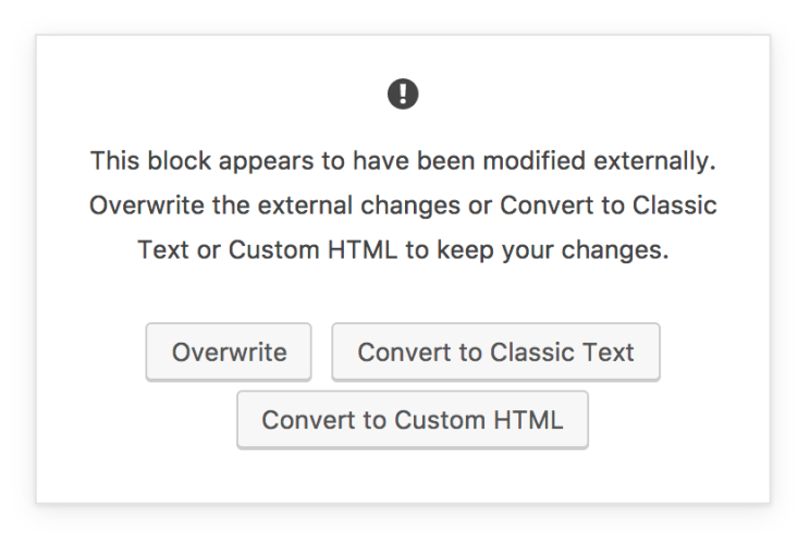 convert a single block to an HTML block when Gutenberg detects conflicting content.