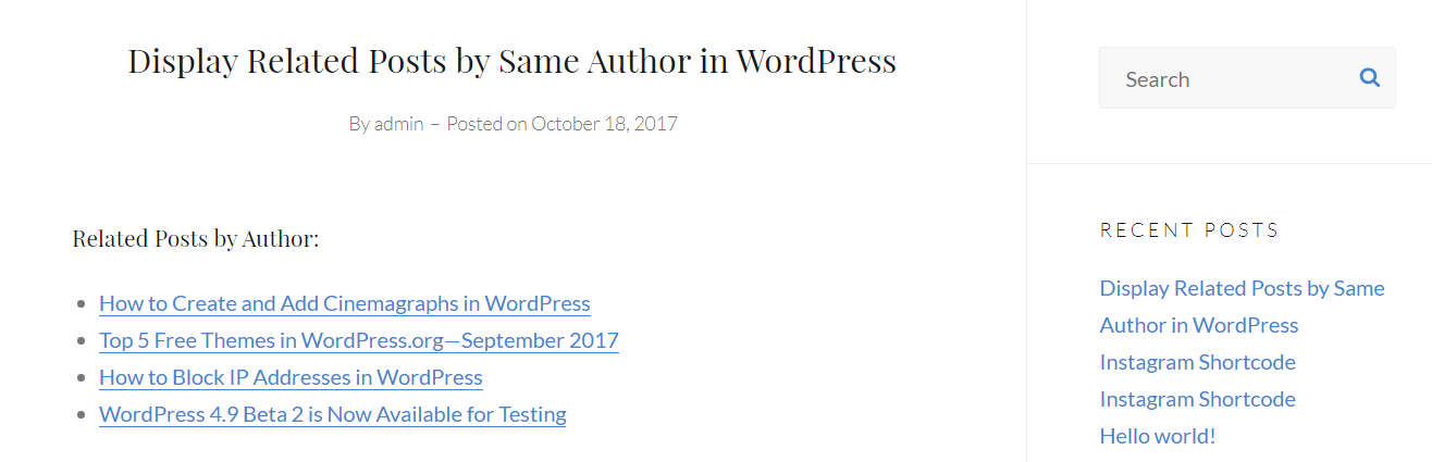 display related posts by same author in WordPress