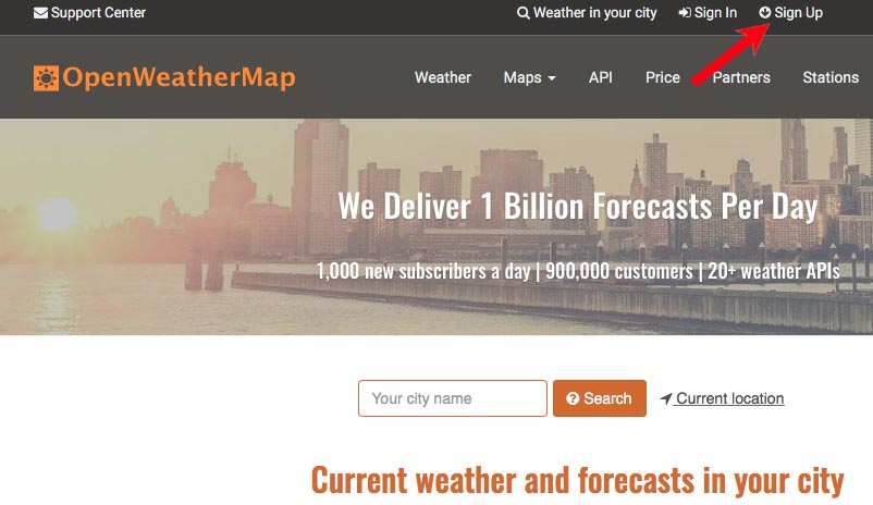 sign up in OpenWeatherMap