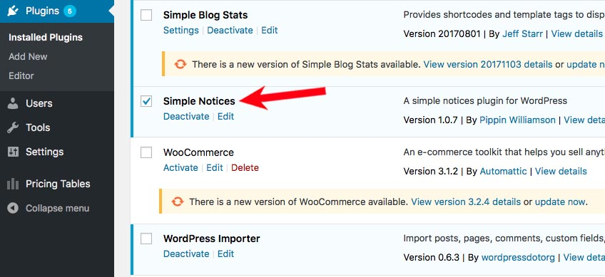 Install and Activate Simple Notices Plugin