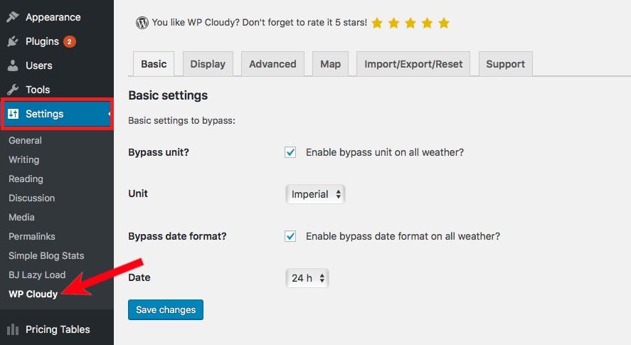 Settings > WP Cloudy