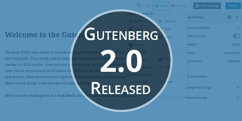 Gutenberg 2.0 – The New Edition of Gutenberg Editor Released!