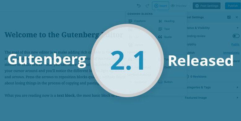 Gutenberg 2.1 Released