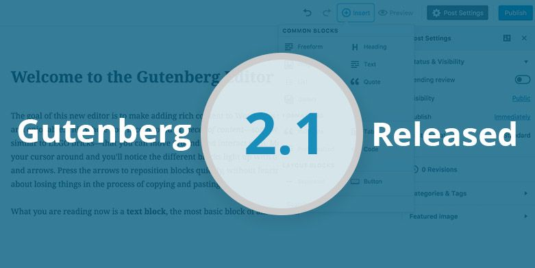 Gutenberg 2.1 – The New Version of Gutenberg Editor