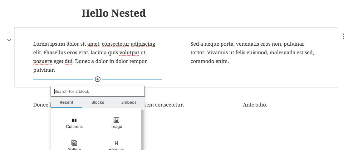 Block Nesting