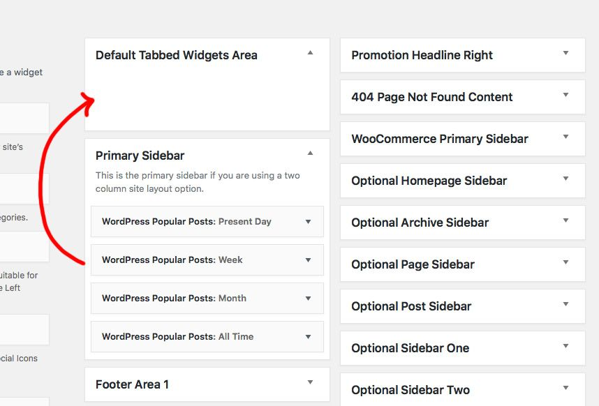Drag and Drop to Default Tabbed Widgets Area.