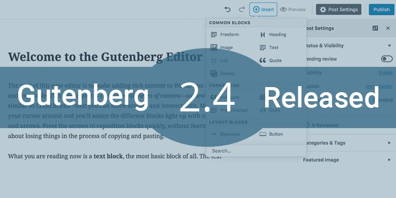 Gutenberg 2.4 Released with Several Enhancements