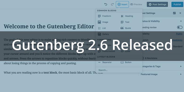 Gutenberg 2.6 Released